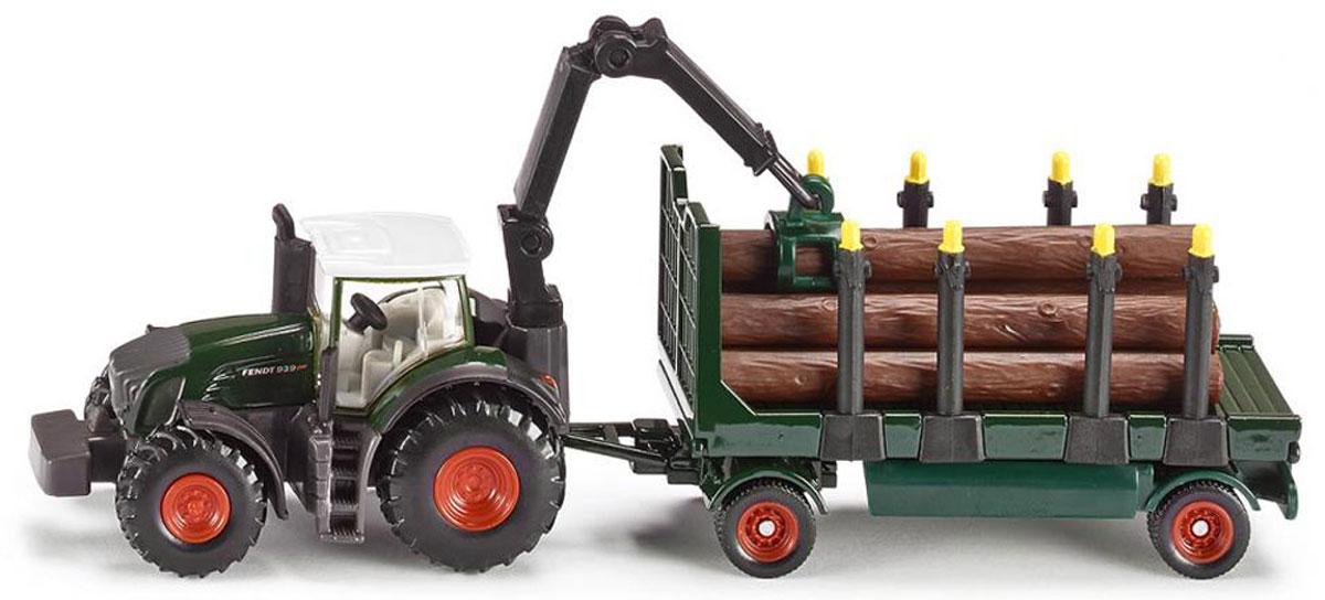 """Трактор Fendt 939 с прицепом и бревнами """"Siku"""" выполнен в масштабе 1:87. В набор входят модель трактора и модель прицепа для перевозки леса с манипулятором-погрузчиком. Манипулятор может поворачиваться, захватывать бревна, загруженные в прицеп. Прицеп оборудован съемными стойками, позволяющими безопасно грузить и перевозить предметы. В набор также входит имитация бревен, изготовленная из безопасного пластика."""