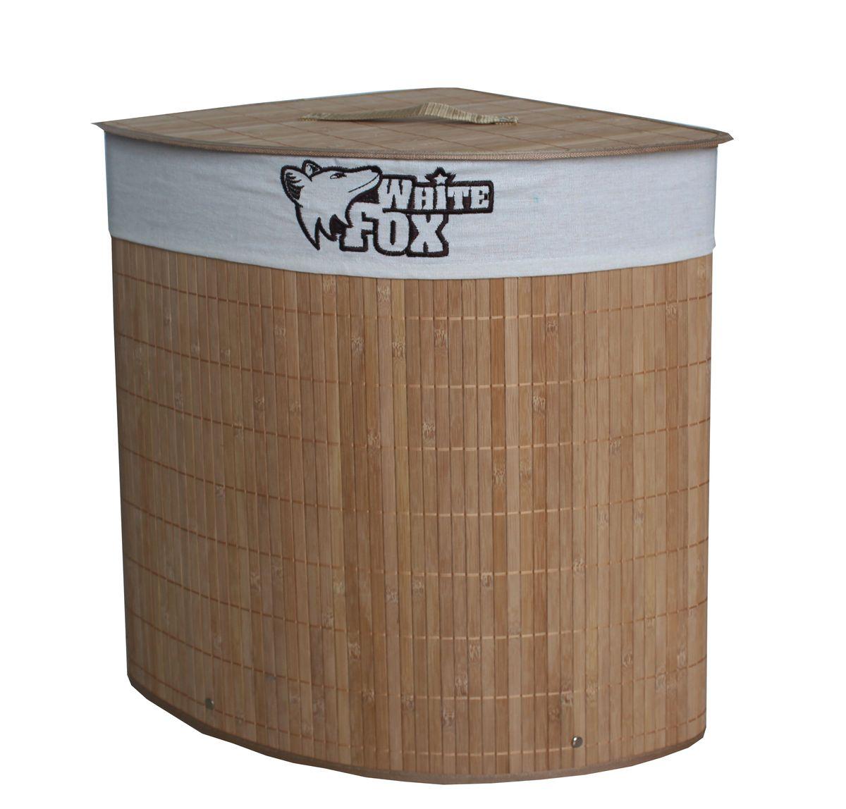 Корзина для белья White Fox Bamboo Standart, угловая391602Корзина для белья White Fox Bamboo Standart предназначена для организации и хранения белья. Съемный чехол можно стирать в стиральной машине при деликатной стирке. Удобные ручки помогут перемещать корзину в любое удобное место. Угловая конструкция легко впишется в любой интерьер.