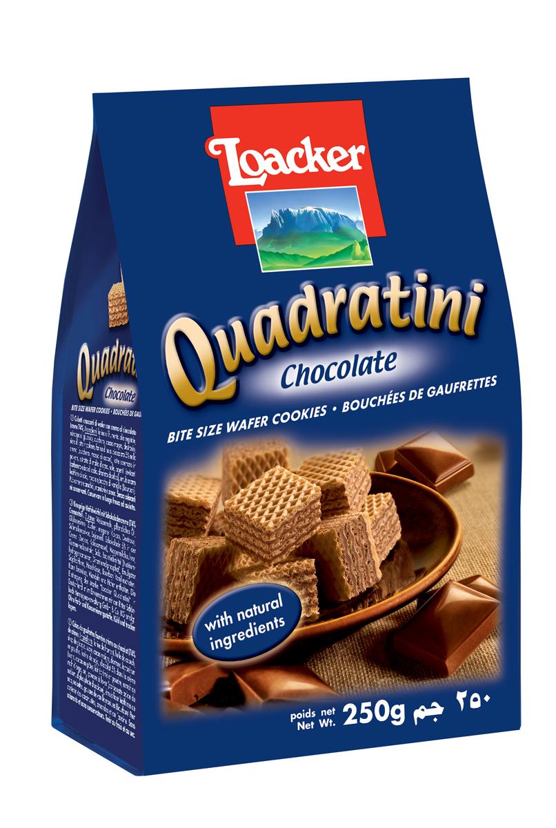 Loacker Квадратини вафли шоколад, 250 гУТ21325Нежные и восхитительные вафли Loacker изготовлены по лучшим рецептам только из натуральных ингредиентов. Они тают во рту благодаря воздушной вафельной основе и большому содержанию кремовой начинки (74%). Это вафли в щедрой упаковке по 250 г, в которой, как минимум, 65 порционных вафель-кубиков; или по 220 г (55 восхитительных кубиков). Упаковка снабжена защитной полосой, чтобы ваши вафли всегда оставались свежими и хрустящими.