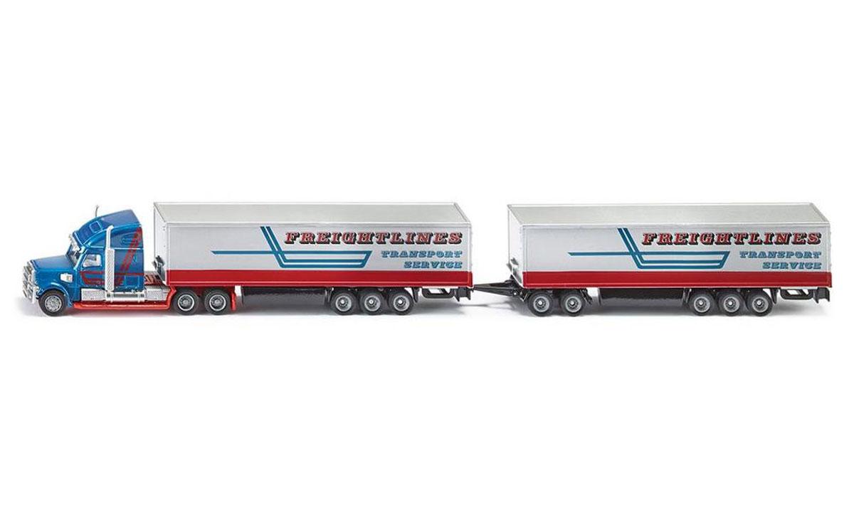 """Могучий автопоезд Siku """"Freightlines Transport Service"""" выполнен в масштабе 1:87! Впечатляющая машина, украшенная внушительными хромированными деталями, обеспечивает плавную езду на любой поверхности. Такая модель понравится не только ребенку, но и взрослому коллекционеру, и приятно удивит вас высочайшим качеством исполнения. Корпус игрушки изготовлен из металла с пластиковыми элементами. Модель станет не только интересной игрушкой для ребенка, интересующегося различными видами транспорта, но и займет достойное место в любой коллекции."""
