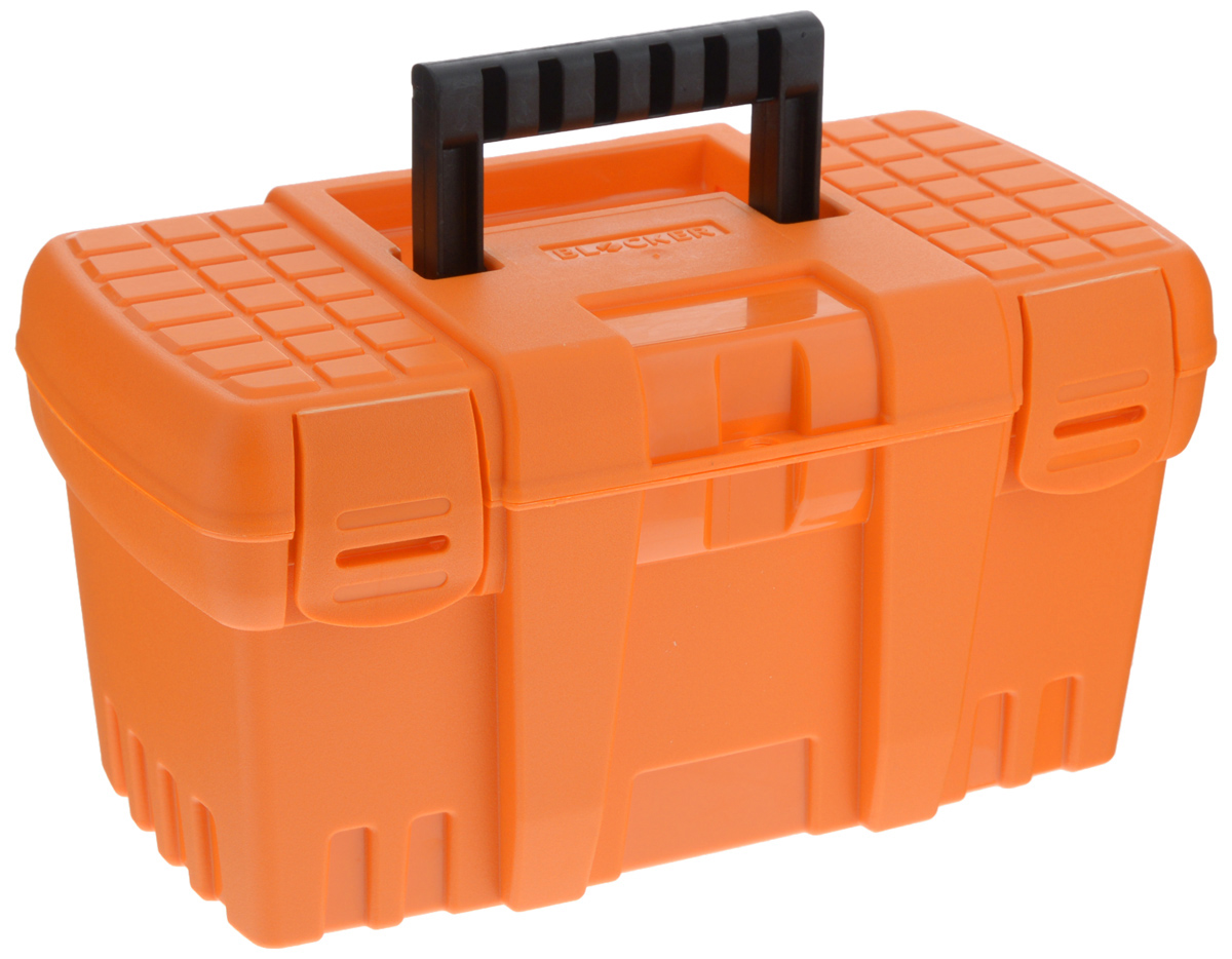 Ящик для инструментов Blocker Techniker, цвет: оранжевый, черный, 26,5 х 15,5 х 14 см98298130Ящик Blocker Techniker изготовлен из прочного пластика и предназначен для хранения и переноски инструментов. Вместительный, внутри имеет большое главное отделение.Закрывается при помощи крепких защелок, которые не допускают случайного открывания. Для более комфортного переноса в руках на крышке ящика предусмотрена удобная ручка.