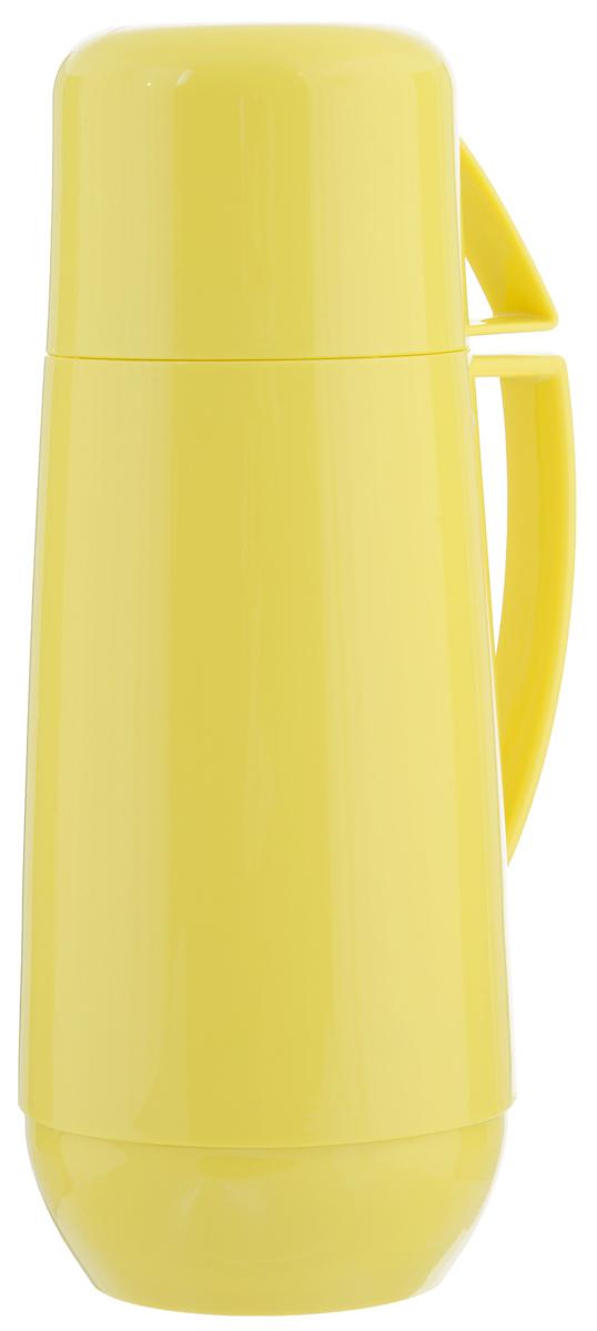 Термос с кружкой Family, цвет: желтый, 0,75 л. 310566115510Термос Family предназначен для хранения и переноски теплых и холодных напитков. Термос изготовлен из прочного пластика и снабжен стеклянной изоляционной колбой. Термос имеет удобную ручку и завинчивающуюся крышку, которая может выполнять функцию кружки с ручкой. Высота (с кружкой): 29 см.