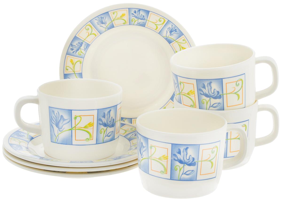 Набор чайный Calve, 8 предметов. CL-2508CL-2508_синие цветы в квадратахЧайный набор Calve состоит из 4 чашек и 4 блюдец, выполненных из высококачественного пластика. Изделия оформлены цветочным рисунком. Изящный набор эффектно украсит стол к чаепитию и порадует вас функциональностью и ярким дизайном. Можно мыть в посудомоечной машине.Диаметр блюдца: 14,5 см. Объем чашки: 240 мл. Диаметр чашки (по верхнему краю): 8 см. Высота чашки: 6,4 см.
