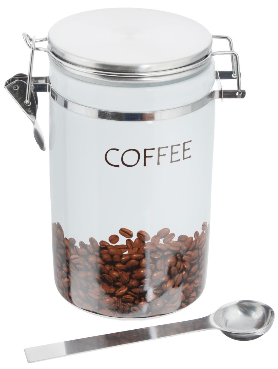 Банка для кофе Zeller Coffee, с ложкой, 1 лVT-1520(SR)Банка Zeller Coffee, выполненная из керамики и покрытая высококачественной глазурью, станет незаменимым помощником на кухне. В ней будет удобно хранить продукты, такие как кофе. В комплекте с банкой идет металлическая ложка. Емкость герметично закрывается крышкой с помощью клипсы.Оригинальный дизайн позволит сделать такую банку отличным подарком на любой праздник.Диаметр по верхнему краю: 10,5 см. Высота банки (с учетом крышки): 19 см. Длина ложки: 16,5 см.