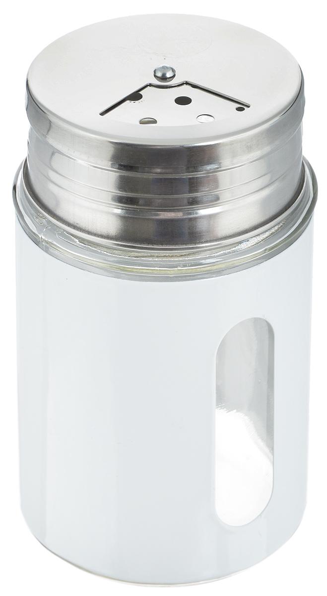 Емкость для специй Zeller, цвет: прозрачный, белый, 100 мл21395599Емкость Zeller, выполненная из антикоррозийной стали и прочного стекла, предназначена для разнообразных специй. Изделие снабжено плотно закрывающийся крышкой с поворотным механизмом, который позволяет выбрать отверстия нужные по диаметру. Емкость имеет прозрачное окошко. Благодаря антистатической поверхности содержимое емкости не прилипает к стеклянному окошку, поэтому вы всегда можете видеть, что и в каком количестве содержится внутри. Такая функциональная и вместительная емкость станет незаменимым аксессуаром на любой кухне. Диаметр (по верхнему краю): 4 см.Высота (без учета крышки): 8 см.