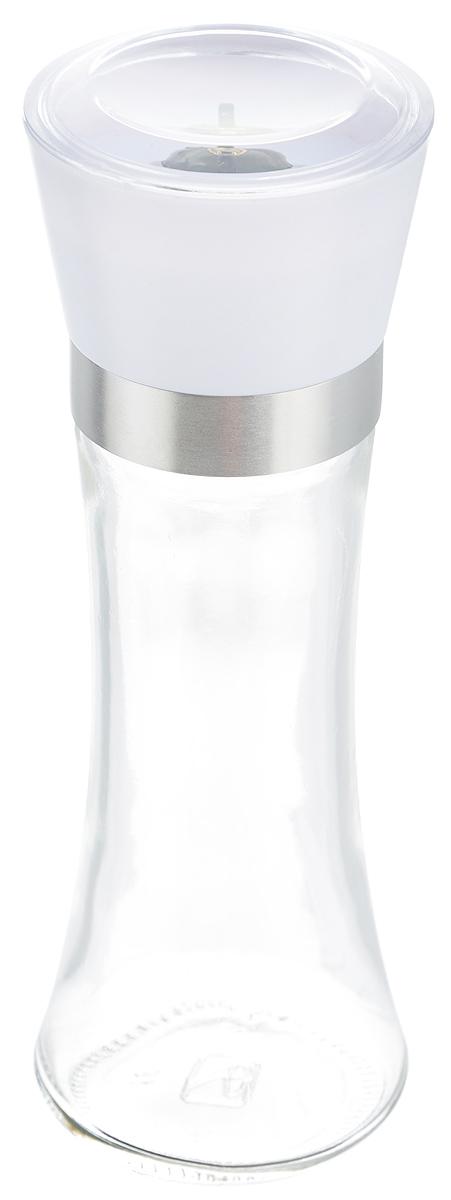 Мельница для специй Zeller, цвет: прозрачный, белый, высота 19,5 смFD-59Мельница Zeller, изготовленная из высококачественных материалов - стекла, пластика и металла, удобна и легка в использовании. Изделие оснащено крышкой, благодаря которой сохраняется свежесть и аромат содержимого. Стоит только покрутить верхнюю часть мельницы, и вы с легкостью сможете приправить по своему вкусу любое блюдо. Мельница имеет керамический механизм помола и предназначена для измельчения перца, соли и других специй. Мельница Zeller не только поможет вам с приготовлением пищи, но и стильно украсит интерьер любой кухни.Высота мельницы: 19,5 см.Диаметр мельницы (по верхнему краю): 6,5 см.
