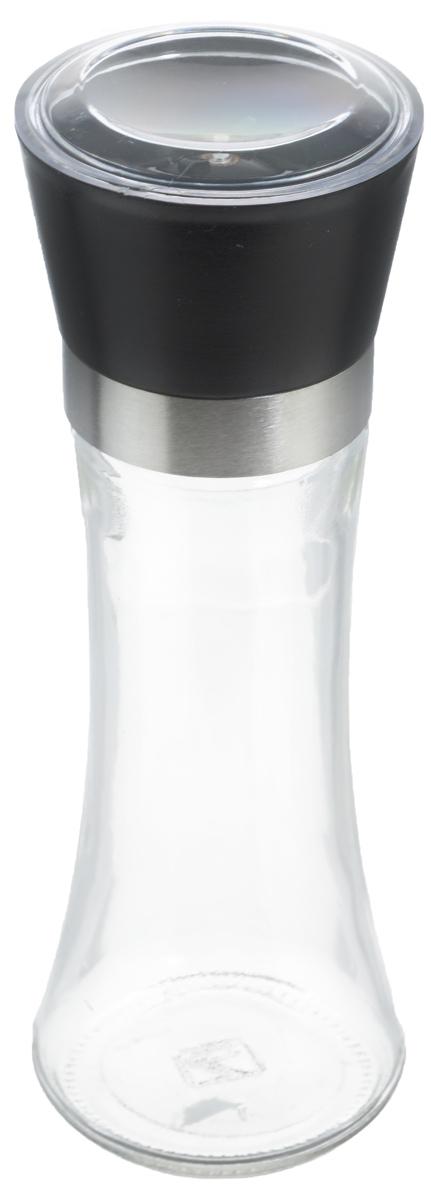 Мельница для специй Zeller, цвет: прозрачный, черный, высота 19,5 см19766Мельница Zeller, изготовленная из высококачественных материалов - стекла, пластика и металла, удобна и легка в использовании. Изделие оснащено крышкой, благодаря которой сохраняется свежесть и аромат содержимого. Стоит только покрутить верхнюю часть мельницы, и вы с легкостью сможете приправить по своему вкусу любое блюдо. Мельница имеет керамический механизм помола и предназначена для измельчения перца, соли и других специй. Мельница Zeller не только поможет вам с приготовлением пищи, но и стильно украсит интерьер любой кухни.Высота мельницы: 19,5 см.Диаметр мельницы (по верхнему краю): 6,5 см.