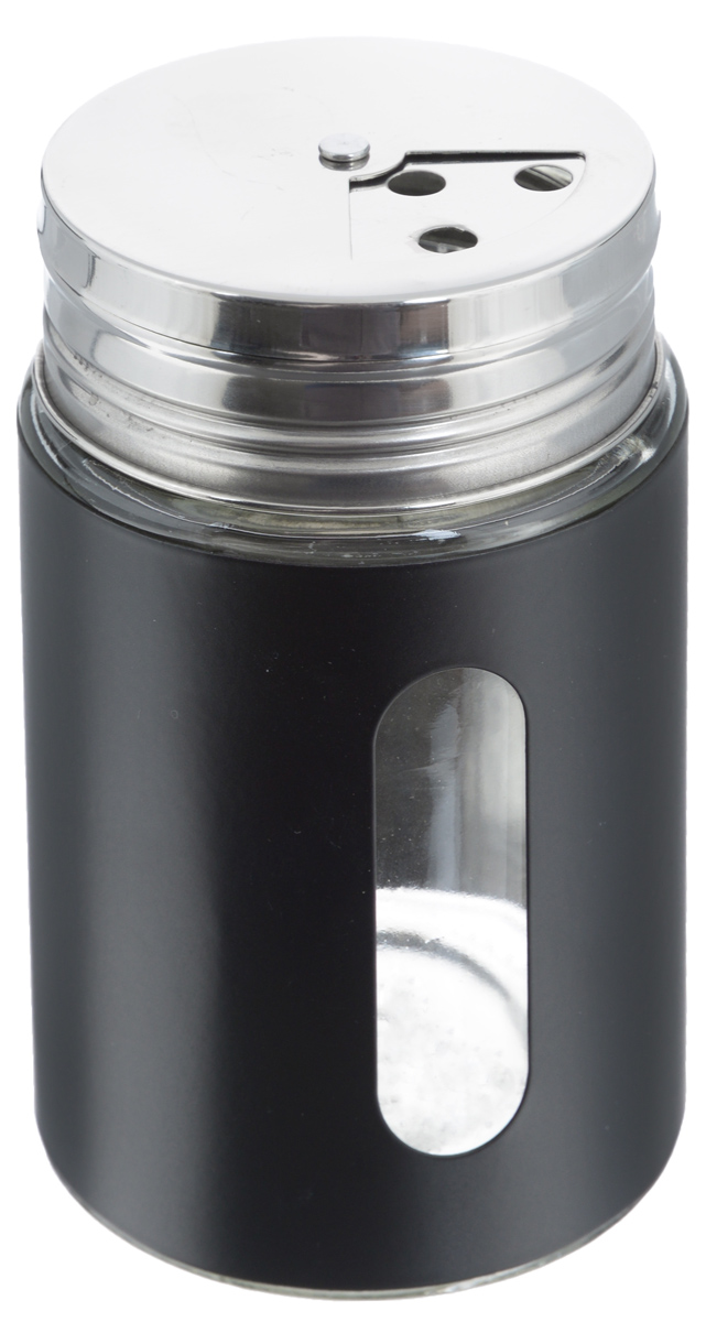 Емкость для специй Zeller, цвет: прозрачный, черный, 400 млVT-1520(SR)Емкость Zeller выполнена из антикоррозийной стали и стекла и предназначена для разнообразных специй. Изделие оснащено удобной плотно закрывающийся крышкой с отверстиями разной величины для высыпания. Поворотный механизм позволяет выбрать отверстия по диаметру. Емкость имеет прозрачное окошко, поэтому вы всегда можете видеть, что и в каком количестве содержится в банке. Благодаря антистатической поверхности содержимое контейнера не прилипает к стеклянному окошку.Такая функциональная и вместительная емкость станет незаменимым аксессуаром на любой кухне. Диаметр по верхнему краю: 6 см.Высота (без учета крышки): 10,5 см.