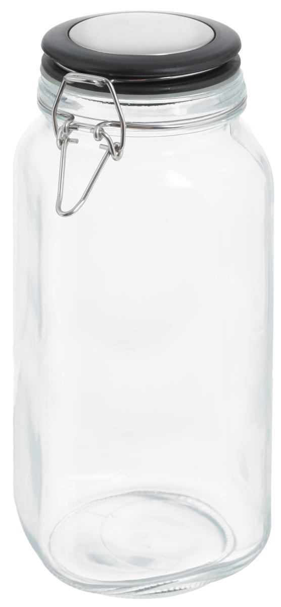 Банка для хранения Zeller, 2,1 л. 19953VT-1520(SR)Банка Zeller, изготовленная из прочного стекла, снабжена пластиковой крышкой с силиконовым уплотнителем. Металлическая клипса плотно и герметично закрывается, дольше сохраняя аромат и свежесть содержимого.Изделие подходит для хранения сыпучих продуктов: круп, чая, специй, орехов, сахара и многого другого. Функциональная и вместительная, такая банка станет незаменимым аксессуаром на любой кухне. Диаметр банки (по верхнему краю): 9,5 см.Высота банки (с учетом крышки): 26 см.