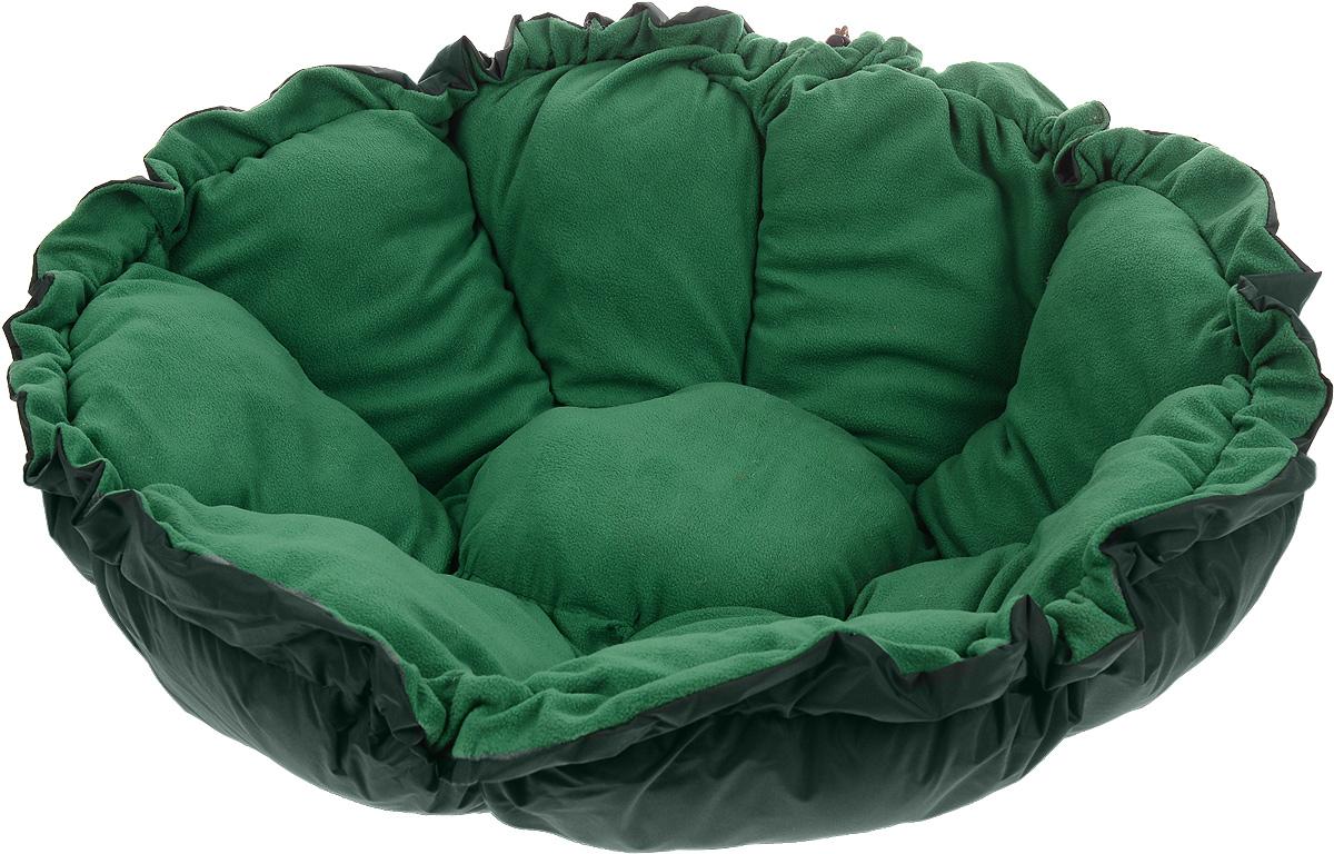 Лежак для животных ЗооМарк Тыква, цвет: темно-зеленый, диаметр 100 см0120710Лежак Зоомарк Тыква, выполненный из текстиля, обязательно понравится вашему питомцу. Лежак очень удобный и уютный, он оснащен бортиками. Ваш любимец сразу же захочет забраться на лежак, там он сможет отдохнуть и подремать в свое удовольствие. Компактные размеры позволят поместить лежак, где угодно, а приятная цветовая гамма сделает его оригинальным дополнением к любому интерьеру.