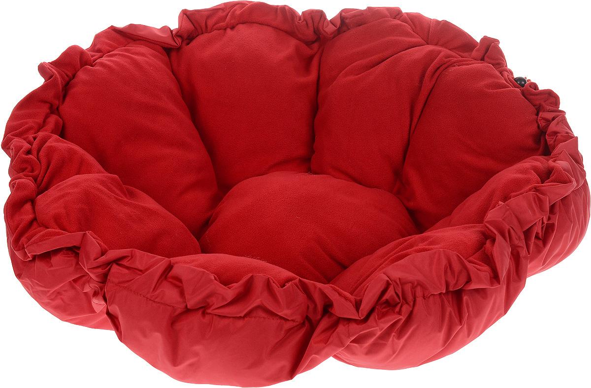 Лежак для животных ЗооМарк Тыква, цвет: красный, диаметр 90 см0120710Лежак ЗооМарк Тыква, выполненный из текстиля, обязательно понравится вашему питомцу. Он очень удобный и уютный. Ваш любимец сразу же захочет забраться на лежак, там он сможет отдохнуть и подремать в свое удовольствие. Приятная цветовая гамма сделает изделие оригинальным дополнением к любому интерьеру. С помощью затягивающегося шнурка вы можете сделать у лежака бортики.Диаметр лежака: 90 см.Высота: 10 см.