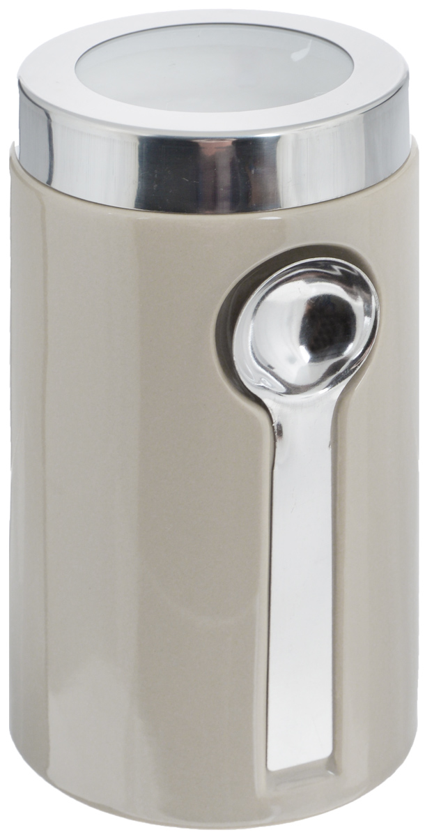 Банка для сыпучих продуктов Zeller, с ложкой, цвет: серо-бежевый, 900 млVT-1520(SR)Банка Zeller изготовлена из высококачественной керамики. Емкость снабжена крышкой из пластика и металла, которая плотно закрывается, дольше сохраняя аромат и свежесть содержимого. Изделие оснащено металлической ложкой, которая крепится к банке с помощью магнитов. Банка подходит для хранения сыпучих продуктов: круп, специй, сахара, соли. Она станет полезным приобретением и пригодится на любой кухне.Диаметр по верхнему краю: 9 см.Высота (с учетом крышки): 19 см. Длина ложки: 14 см.