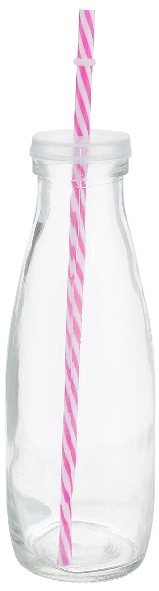 Емкость для напитков Zeller, с трубочкой, цвет: прозрачный, фуксия, 475 млVT-1520(SR)Емкость Zeller, выполненная из высококачественного стекла в виде бутылки, снабжена трубочкой и пластиковой крышкой с отверстием для трубочки. Изделие предназначено для сока, воды и других напитков. Емкость очень удобна в использовании. Она пригодится как дома, так и на даче.Диаметр по верхнему краю: 4,5 см. Высота емкости: 21 см. Длина трубочки: 26 см.