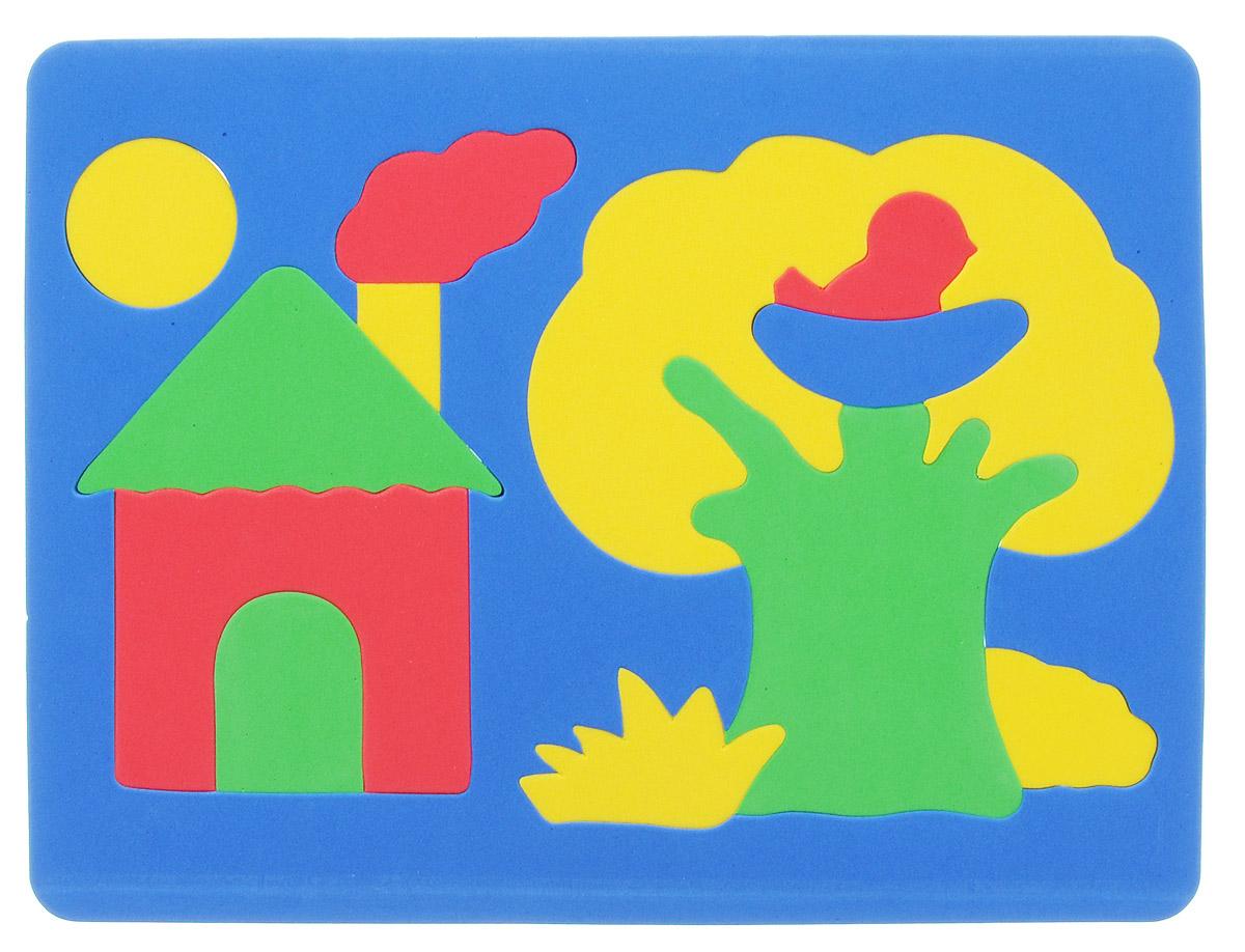 Фантазер Пазл для малышей Дом и дерево цвет основы синий