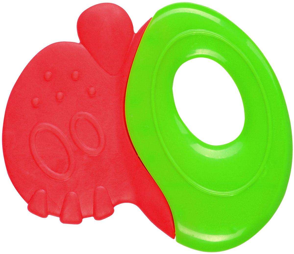 BabyOno Прорезыватель-погремушка цвет красный зеленый babyono погремушка бегемотик