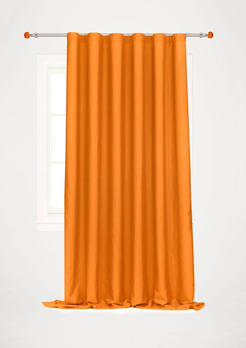 Штора Garden, на ленте, цвет: оранжевый, высота 260 см. С W1687 V72199SVC-300Garden – это универсальная и интересная серия домашних штор для яркого и стильного оформления окон и создания особенной уютной атмосферы. Эта штора великолепно смотрится как одна, так и в паре, в комбинации с нежной тюлевой занавеской, собранная на подхваты и свободно ниспадающая естественными складками. Такая штора, изготовленная полностью из прочного и очень практичного полиэстерового полотна, долговечна и не боится стирок, не сминается, не теряет своего блеска и яркости красок.