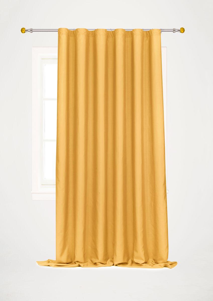 Штора готовая Garden, на ленте, цвет: золотой, высота 260 см. С W1687 V72259С W1687 V72259Garden – это универсальная и интересная домашняя штора для яркого и стильного оформления окон и создания особенной уютной атмосферы. Эта штора великолепно смотрится как одна, так и в паре, в комбинации с нежной тюлевой занавеской, собранная на подхваты и свободно ниспадающая естественными складками. Такая штора, изготовленная полностью из прочного и очень практичного полиэстерового полотна, долговечна и не боится стирок, не сминается, не теряет своего блеска и яркости красок. Штора крепится на карниз при помощи ленты, которая поможет красиво и равномерно задрапировать верх.