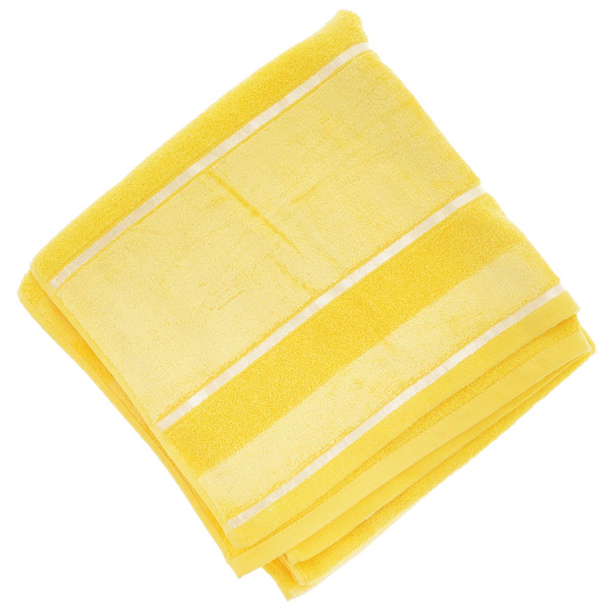 Полотенце Soavita Louise, цвет: желтый, 70 х 140 смCLP446Полотенце Soavita Louise выполнено из 100% хлопка. Все детали качественно прошиты, ткань очень плотная, не линяет и держится много лет. Изделие отлично впитывает влагу, быстро сохнет, сохраняет яркость цвета и не теряет форму даже после многократных стирок. Полотенце очень практично и неприхотливо в уходе. Оно создаст прекрасное настроение и украсит интерьер в ванной комнате.