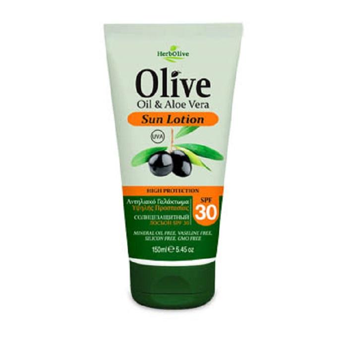 HerbOlive Крем для тела солнцезащитный SPF30 150 мл074-4930Бережно сохраняет вкоже естественный уровень влаги, обеспечивая интенсивное увлажнение. Восстанавливает иразглаживает кожу предотвращая шелушение ивтоже время придает живой блеск, успокаивает иподдерживает кожу упругой имолодой спомощью активных ингредиентов и экстракта алоэ вера.
