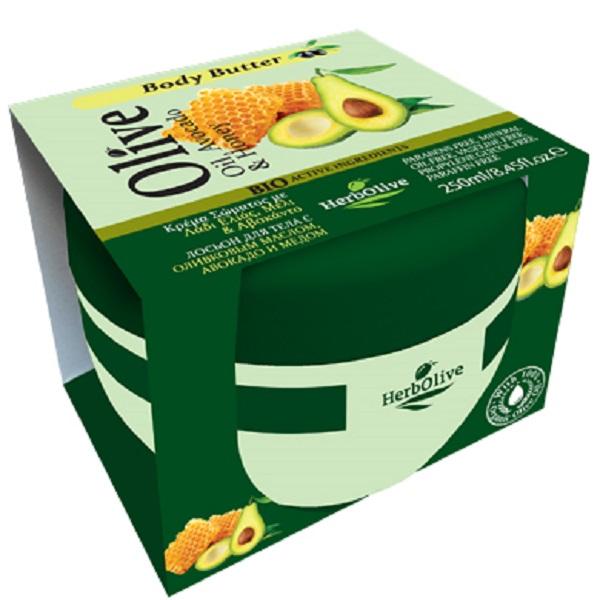 HerbOlive Масло для тела с медом и авокадо 250 мл5200310402906Твердое масло для тела с авокадо и медом при соприкосновении с кожей нежно тает, питая, увлажняя и одаривая тело ароматом греческих масел и экстрактов растений. В составе:Натуральные питательные ингредиенты мед, авокадо, ценные масла оливы, карите, оливы, миндаля, пантенол.Средство омолаживает кожу, устраняет стянутость, шелушение, тонизирует кожу, хорошо впитывается, не оставляет ощущение жирности.Косметика произведена в Греции на основе органического сырья, НЕ СОДЕРЖИТ минеральные масла, вазелин, пропиленгликоль, парабены, генетически модифицированные продукты (ГМО)