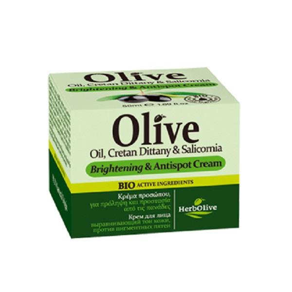 HerbOlive Крем для лица, выравнивающий тон кожи, против пигментных пятен 50 млУТ000001785Рекомендуется применять с 20 лет. Крем легко впитывается, подходит для всех типов кожи.Сочетание таких компонентов, как масло ши, масло арганы и оливы, экстракт алоэ, аллантоин и пантенол направлено на синтез коллагена и эластина, повышают упругость и эластичность, улучшают тургор кожи, разглаживают морщины, улучшают цвет лица. Витамин Е безопасно защищает клетки кожи от УФ излучения. Органический экстракт алоэ увлажняет, успокаивает, повышает местный иммунитет на коже.Аллантоин эффективно предотвращает закупорку пор, образование комедонов и воспалителений.Саликорния морская является основным компонентом, который выравнивает тон кожи. Водоросль наполняет кожу морскими микроэлементами и витаминами.Косметика произведена в Греции на основе органического сырья, НЕ СОДЕРЖИТ минеральные масла, вазелин, пропиленгликоль, парабены, генетически модифицированные продукты (ГМО)