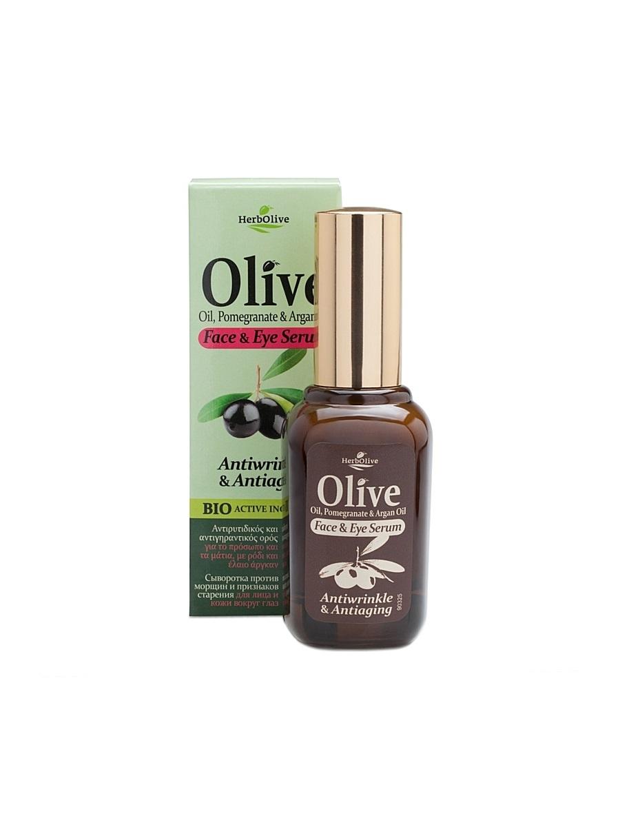 HerbOlive Сыворотка против морщин и признаков старения для лица и кожи вокруг глаз 30 мл72523WDСыворотка с легкой консистенцией, прекрасно впитывается, идеальна для всех типов кожи. Рекомендуется с 25 лет.Активные ингредиенты: масло оливы, арганы увлажняет, питает, наполняет кожу витаминами.Экстракт граната - мощный антиоксидант, призван предотвращать появление морщин. Витаминизирует, содержит микроэлементы, придает коже эластичность, сужает поры и себорегулирует, восстанавливает липидный барьер кожи, убирает шелушения и раздражения.Алоэ, розмарин, морская спаржа –не дает коже пересыхать, дизенфицирует, выравнивает тон кожи.Косметика произведена в Греции на основе органического сырья, НЕ СОДЕРЖИТ минеральные масла, вазелин, пропиленгликоль, парабены, генетически модифицированные продукты (ГМО)