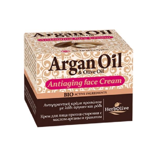 ArganOil Антивозрастной крем для лица с маслом арганы и экстрактом граната 50 мл074-4992Крем для лица с маслом арганы и экстрактом граната. Рекомендуется с 35 лет. Подходит для сухой и нормальной кожи.Сочетание экстракта витекса, витамина С, экстракт граната, масла карите и сладкого миндаля оказывает противовоспалительное тонизирующее средство, прекрасно для увядающей кожи, уставшей кожи, повышает эластичность.А в сочетании с маслом оливы, где содержатся вит А, Е, Д, этот крем приобретает мощнейшие антиоксидантные свойства. Снижает хрупкость капилляров.Косметика произведена в Греции на основе органического сырья, НЕ СОДЕРЖИТ минеральные масла, вазелин, пропиленгликоль, парабены, генетически модифицированные продукты (ГМО)