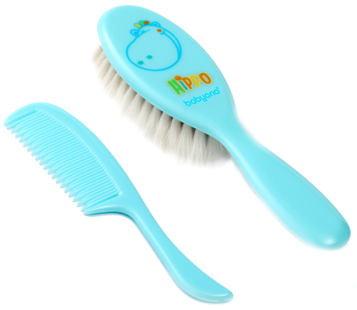 BabyOno BabyOno Набор детский Бегемот Расческа и щетка для волос цвет голубой 564 детский ковшик babyono голубой 1035