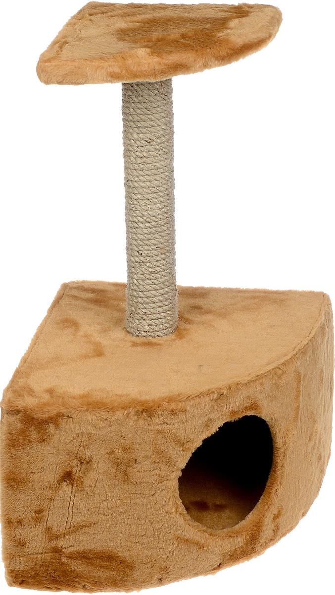 Домик-когтеточка ЗооМарк, угловой, с полкой, цвет: светло-коричневый, бежевый, 37 х 37 х 68 см0120710Угловой домик-когтеточка ЗооМарк выполнен из высококачественного дерева и искусственного меха. Изделие предназначено для кошек. Ваш домашний питомец будет с удовольствием точить когти о специальный столбик, изготовленный из джута. А отдохнуть он сможет либо на площадке, находящейся наверху столбика, либо в расположенном внизу домике.Общий размер: 37 х 37 х 68 см.Размер домика: 37 х 37 х 26 см.Размер полки: 25 х 25 см.