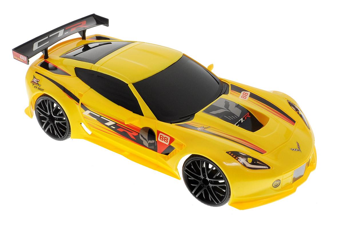 """Радиоуправляемая модель New Bright """"Corvette C7.R"""" станет отличным подарком любому мальчику! Это точная копия настоящего автомобиля в масштабе 1:12. Управление игрушкой происходит при помощи удобного пульта. Пульт управления работает на частоте 2,4 GHz, а радиус его действия составляет 25-30 метров. Возможные движения: вперед-назад, поворот вправо-влево. Радиоуправляемые игрушки способствуют развитию координации движений, моторики и ловкости. Ваш ребенок увлеченно будет играть с моделью, придумывая различные истории и устраивая соревнования. Порадуйте его таким замечательным подарком. Автомобиль работает от встроенного аккумулятора. Зарядка осуществляется при помощи USB-кабеля (входит в комплект). Для работы пульта управления необходимы 2 батарейки типа АА (входят в комплект)."""