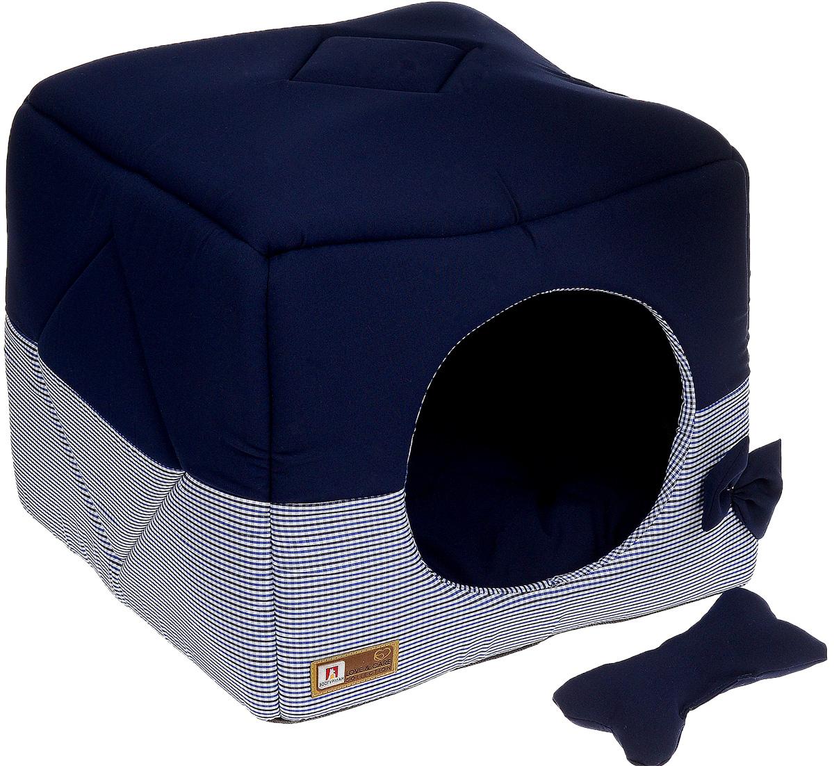 Лежак для собак и кошек Зоогурман Домосед, цвет: синий, 45 х 45 х 45 см0120710Оригинальный и мягкий лежак для кошек и собак Зоогурман Домосед обязательно понравится вашемупитомцу. Лежак выполнен из приятного материала. Уникальная конструкция лежака имеет два варианта использования: - лежанка, с высокими бортиками и мягкой внутренней подушкой, - закрытый домик с мягкой подушкой внутри.Универсальный лежак-трансформер непременно понравится вашему питомцу, подарит ему ощущение уюта и комфорта. В комплекте со съемной подушкой мягкая игрушка «косточка».За изделием легко ухаживать, можно стирать вручную или в стиральной машинепри температуре 40°С. Материал: микро волоконная шерстяная ткань.Наполнитель: гипоаллергенное синтетическое волокно.Наполнитель матрасика: шерсть.Размер: 45 см х 45 см х 45 см.Размер лежанки: 45 см х 20 см х 45 см.