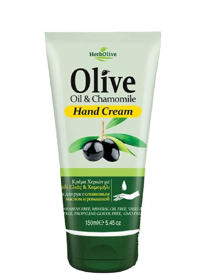 HerbOlive Крем для рук с экстрактом ромашки 150 млOL-81503651Крем для рук с ромашкой, на основе органического масла оливы идеально подходит для ежедневного использования. Легко впитывается увлажняет и смягчает кожу рук, защищает от образования кутикул, трещин и ежедневного воздействия внешней агрессивной среды. Увлажняет руки, делая их мягкими и гладкими.Косметика произведена в Греции на основе органического сырья, НЕ СОДЕРЖИТ минеральные масла, вазелин, пропиленгликоль, парабены, генетически модифицированные продукты (ГМО)