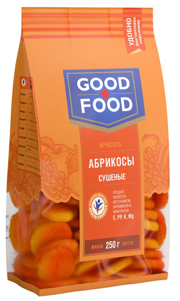 Good Food абрикосы сушеные,250г0120710Сушеные абрикосы обладают высокими вкусовыми качествами, быстро утоляют чувство голода, обогащают организм витаминами и микроэлементами, оказывают лечебный эффект при целом ряде болезней, делают человека бодрым, сильным и работоспособным.