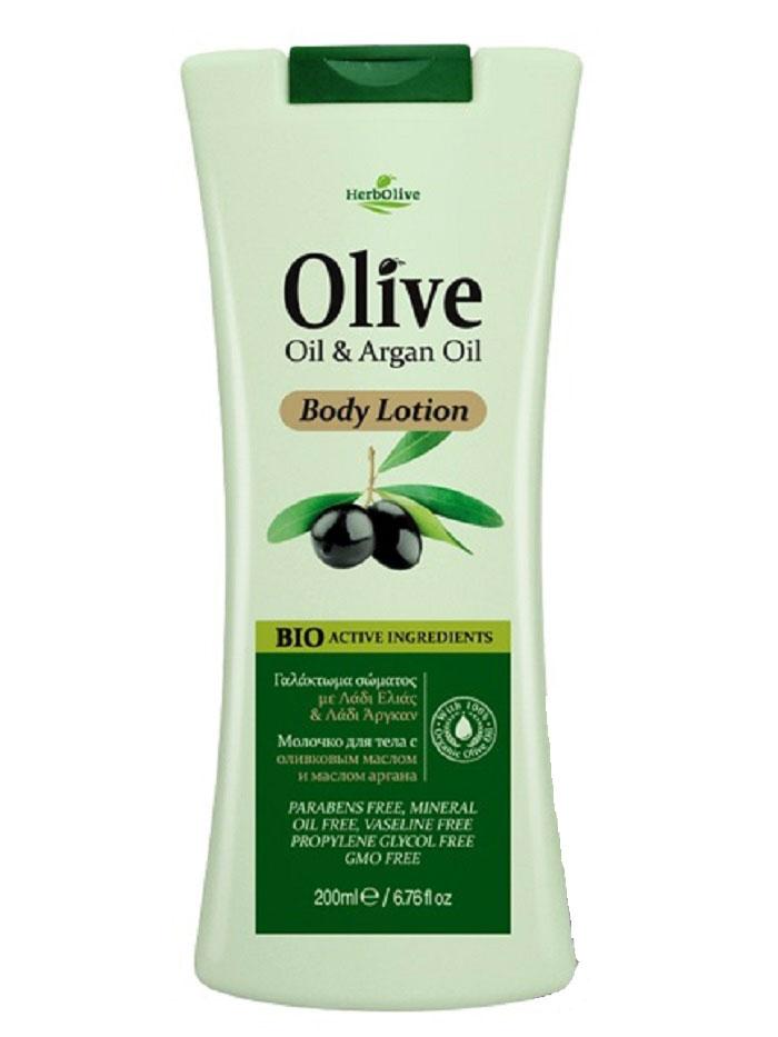 HerbOlive Молочко для тела с маслом арганы 200 мл9849Входящие в состав масло арганы, органическое оливковое масло, подсолнечное масло, глицерин известны своими увлажняющими, антивозрастными и успокаивающими свойствами. Они питают и увлажняют кожу, оживляя ее и даря ей сияние, ощущение бодрости и свежести.Рекомендуется для ежедневного ухода. Легко впитывается по всей поверхности тела, обеспечивая мягкое увлажнение.Косметика произведена в Греции на основе органического сырья, НЕ СОДЕРЖИТ минеральные масла, вазелин, пропиленгликоль, парабены, генетически модифицированные продукты (ГМО)