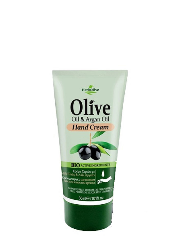 HerbOlive Мини крем для рук с маслом арганы 30 мл5200310401435Крем для рук с маслом арганы, на основе органического масла оливы идеально подходит для ежедневного использования. Легко впитывается увлажняет и смягчает кожу рук, защищает от сухости, раздражений, трещин и ежедневного воздействия внешней агрессивной среды. Увлажняет руки, делая их мягкими и гладкими.Косметика произведена в Греции на основе органического сырья, НЕ СОДЕРЖИТ минеральные масла, вазелин, пропиленгликоль, парабены, генетически модифицированные продукты (ГМО)