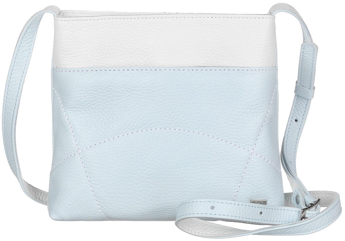 Сумка женская Esse Викки, цвет: светло-голубой, белый. GVCK2U-00ML09-FF609O-K10023008Небольшая женская сумка Esse Викки изготовлена из натуральной кожи зернистой фактуры с добавлением полиамида и полиуретана, оформлена декоративной отстрочкой и металлической пластиной логотипа бренда. Модель создана для женщин, ценящих оригинальный дизайн в сочетании с функциональностью и комфортом.Сумка состоит из одного отделения и закрывается на застежку-молнию. Отделение содержит накладной карман для телефона и мелочей, а также врезной карман на молнии. Лицевая сторона дополнена прорезным открытым карманом. На задней стенке врезной карман на молнии. Сумка оснащена несъемным плечевым ремнем, регулируемой длины.Прилагается текстильный фирменный чехол для хранения.Оригинальный аксессуар позволит вам завершить образ и быть неотразимой.