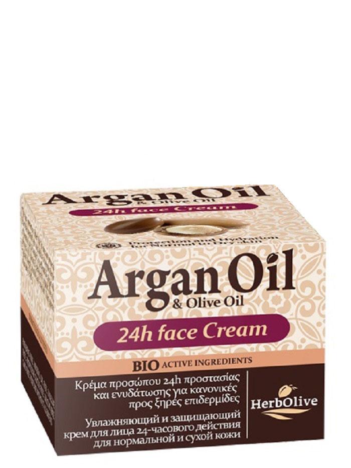 ArganOil Крем для лица уход 24ч для нормальной и сухой кожи 50 мл086-15-36046Крем для ухода за лицом в течение 24 часов. Рекомендуется использовать для нормальной и сухой кожи с 20 лет.Крем содержит солнцезащитный фильтр, который оберегает кожу от вредного солнечного излучения, являющегося одной из причин старения кожи.Масло арганы, масло сладкого миндаля, витамин Е, пантенол, органическое оливковое масло, глубоко увлажняют кожу, питают защищают от внешних неблагоприятных воздействий. Обладает отбеливающим действием, выравнивая тон кожи. Косметика произведена в Греции на основе органического сырья, НЕ СОДЕРЖИТ минеральные масла, вазелин, пропиленгликоль, парабены, генетически модифицированные продукты (ГМО)