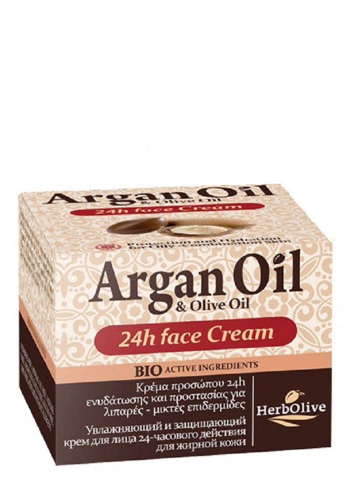ArganOil Крем для лица уход 24ч для жирной и комбинированной кожи 50 мл5200310402760Крем для ухода за лицом в течение 24 часов. Рекомендуется использовать для жирной и комбинированной кожи с 20 лет.Крем содержит активные компоненты: экстракт корня императы цилиндрической, которая содержит калий, поддерживает водный баланс в клетках кожи, способствует моментальному увлажнению, длительному удержанию влаги и повышению местного иммунитета. Масло арганы, миндальное масло, витамин Е, пантенол, органическое оливковое масло, глубоко увлажняют кожу, питают защищают от внешних неблагоприятных воздействий. Обладает отбеливающим действием, выравнивая тон кожи. Косметика произведена в Греции на основе органического сырья, НЕ СОДЕРЖИТ минеральные масла, вазелин, пропиленгликоль, парабены, генетически модифицированные продукты (ГМО)