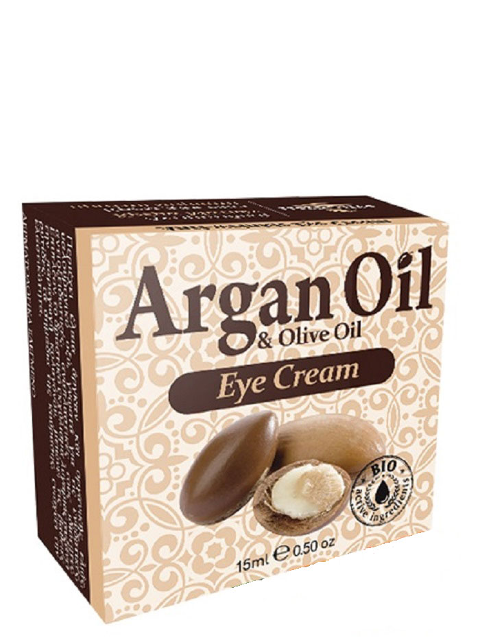ArganOil Крем для области вокруг глаз против морщин 15 мл527074Крем для кожи вокруг глаз содержит такие активные ингредиенты, как масло арганы, органическое оливковое масло, масло ши, пантенол, витамин Е, экстракт алоэ, известные своими антиоксидантными питающими свойствами. Баисаболол успокаивает кожу. Карнозин и гиалуроновая кислота самые эффективные омолаживающие и увлажняющие агенты, защищают от старения и восстанавливают клетки, препятствует образованию морщин и потере эластичности.Кроме этого, активный экстракт расторопши улучшает микроциркуляцию тканей, стимулирует выработку коллагена, уменьшает глубокие морщины и повышает упругость и эластичность кожи. Рекомендуется использовать с 35 лет. Косметика произведена в Греции на основе органического сырья, НЕ СОДЕРЖИТ минеральные масла, вазелин, пропиленгликоль, парабены, генетически модифицированные продукты (ГМО)
