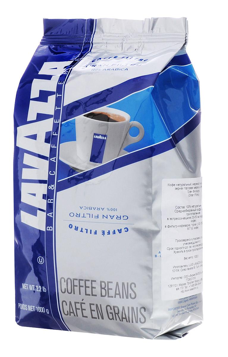 Lavazza Gran Filtro кофе в зернах, 1 кг8000070024106Кофе Lavazza Gran Filtro - смесь высококачественных арабик с лучших плантаций, отмеченных ассоциацией Rainforest Alliance Certified. Смесь произведена из 100% мытой бразильской арабики, выращенной в регионе Моджиана и на юге штата Минаш. Кофе хорошо подходит для использования в фильтр-кофеварках, турках и эспрессо-машинах. Во вкусе можно различить инжир и цветки жасмина.