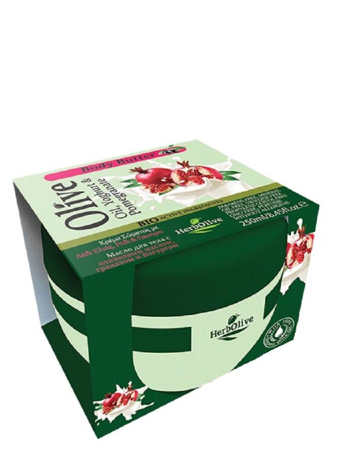HerbOlive Масло для тела с йогуртом и экстрактом граната 250 млFS-00897Твердое масло для тела с йогуртом и экстрактом граната при соприкосновении с кожей нежно тает, питая, увлажняя и одаривая тело ароматом греческих масел и экстрактов. В составе: органический экстракт граната, молочный протеин, а также, ценные масла карите, оливы, миндаля, пантенол.Средство омолаживает кожу, устраняет стянутость, шелушение, тонизирует кожу, хорошо впитывается, не оставляет ощущение жирности.Косметика произведена в Греции на основе органического сырья, НЕ СОДЕРЖИТ минеральные масла, вазелин, пропиленгликоль, парабены, генетически модифицированные продукты (ГМО)