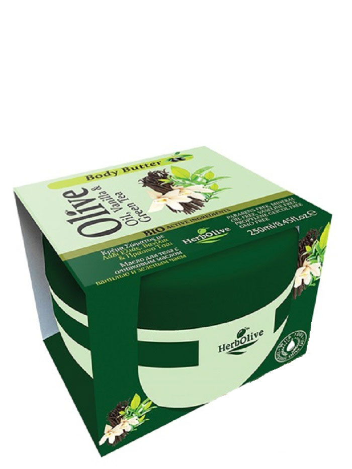 HerbOlive Масло для тела с ванилью и зеленым чаем 250 млFS-00897Твердое масло для тела с ванилью и экстрактом зеленого чая при соприкосновении с кожей нежно тает, питая, увлажняя и одаривая тело ароматом греческих масел и экстрактов. В составе органические экстракты растений: зеленый чай и ваниль, а также, ценные масла карите, оливы, миндаля, пантенол. Средство устраняет стянутость, шелушение, тонизирует кожу, хорошо впитывается, не оставляет ощущение жирности.Косметика произведена в Греции на основе органического сырья, НЕ СОДЕРЖИТ минеральные масла, вазелин, пропиленгликоль, парабены, генетически модифицированные продукты (ГМО)