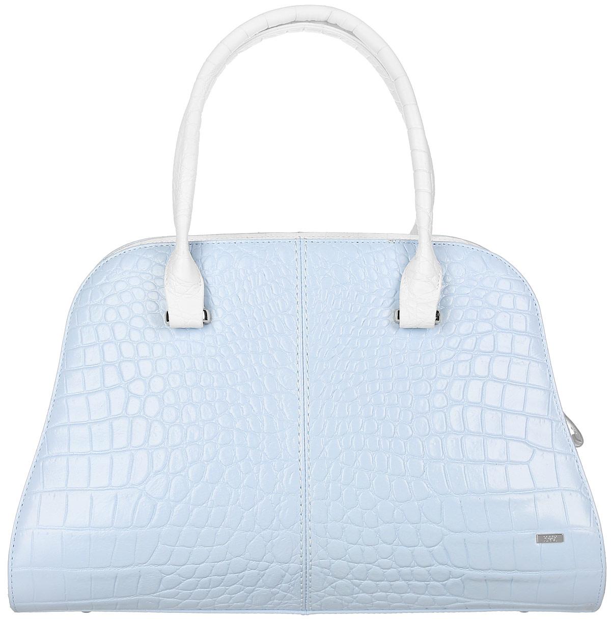 Сумка женская Esse Розали, цвет: голубой, белый. GRSL5U-00ML09-FF809O-K10023008Модная женская сумка Esse Розали имеет жесткую конструкцию, изготовлена из натуральной кожи, оформлена тиснением под кожу крокодила и металлическим значком логотипа бренда. Модель создана для женщин, ценящих оригинальный дизайн в сочетании с функциональностью и комфортом.Сумка состоит из одного отделения и закрывается на застежку-молнию. Отделение содержит нашивной карман для телефона и мелочей, а также врезной карман на молнии. На задней стенке врезной карман на молнии. Сумка оснащена двумя удобными ручками для переноски в руке или на запястье, а также съемным плечевым ремнем, регулируемой длины. Дно сумки дополнено металлическими ножками, которые защищают изделие от повреждений.Прилагается текстильный фирменный чехол для хранения.Оригинальный аксессуар позволит вам завершить образ и быть неотразимой.
