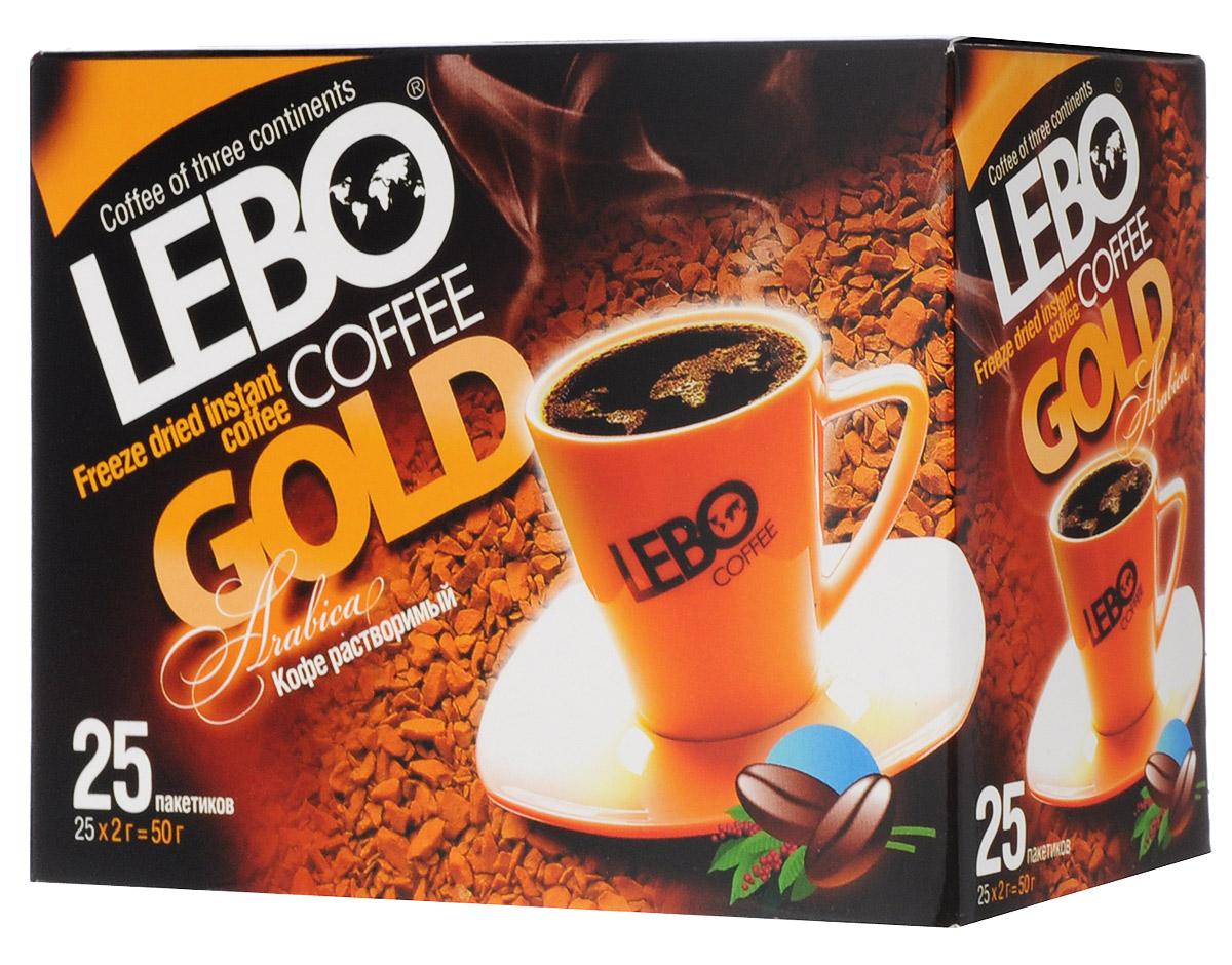 Lebo Gold кофе растворимый порционный, 25 шт х 2 г4602076001040 (бокс)Растворимый кофе Lebo Gold в пакетиках, производится по особой технологии и сохранил в себе все качества натурального кофе. Удобная упаковка, быстрое приготовление и богатый вкус – вот, что делает кофе Lebo Gold таким популярным. Каждая упаковка содержит 25 пакетиков сублимированного кофе из отборных зерен арабики.