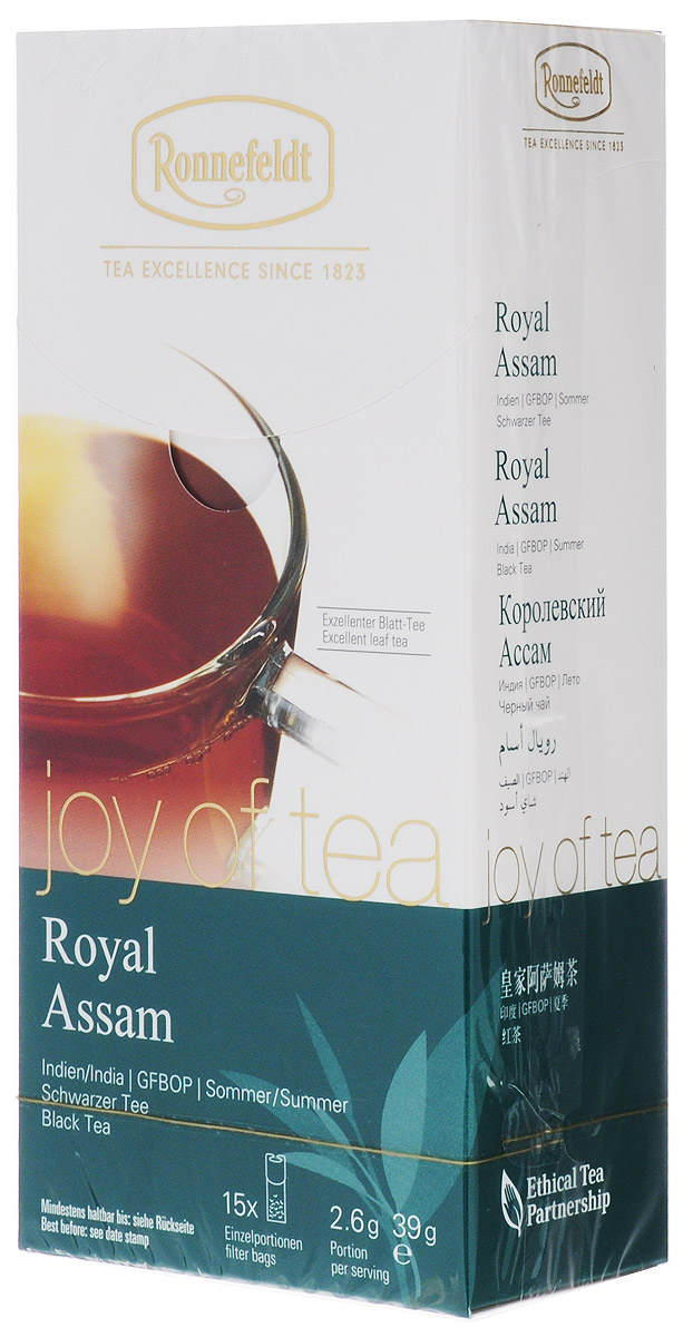 Ronnefeldt Joy of Tea Королевский Ассам черный чай в пакетиках, 15 шт0120710Этот классический мелколистовой чай отличается большим количеством золотых типсов и пряным, выразительным солодовым вкусом, типичным для ассамских чаев.Оптимальная порция высококачественного листового чая в саше из экологичного, натурального материала. В этом саше чайные листья, произведенные традиционным методом, могут полностью раскрыться и передать напитку свой полный вкус.