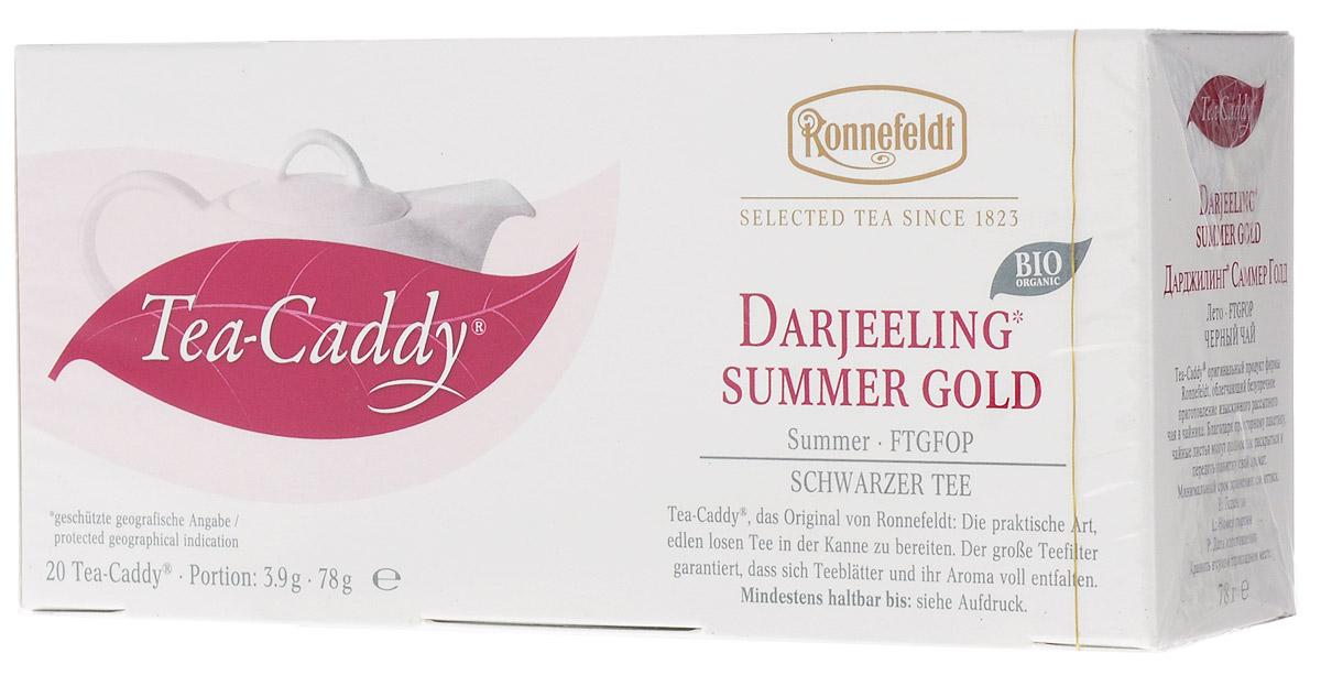 Ronnefeldt Дарджилинг Саммер Голд черный чай в пакетиках для чайника, 20 шт101246Этот знаменитый летний урожай отличается элегантным цветочным вкусом и несравненно гармоничным ароматом.Чай по качеству и вкусу соответствует листовому чаю - ведь это и есть листовой чай, но уже порционированный для чайника. Чайные листья находятся в индивидуальном просторном пакетике, где они могут полностью раскрыться и превратить напиток в истинное наслаждение.