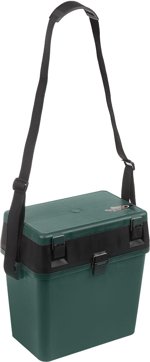 Ящик для рыболовных принадлежностей Onlitop, цвет: зеленый, черный, 38 х 24 х 37 см4271825Ящик для рыболовных принадлежностей Onlitop выполнен из прочного пластика. В нем удобно перевозить рыболовное снаряжение, а в конце рыбалки - сложить в него пойманный улов. Ящик оснащен 1 вместительным отделением для улова. В верхней части крышки также имеется отделение, разделенное на 11 различных секций, в которых можно хранить снасти, наживку и прочие мелочи. Для удобной переноски предусмотрен наплечный ремень.