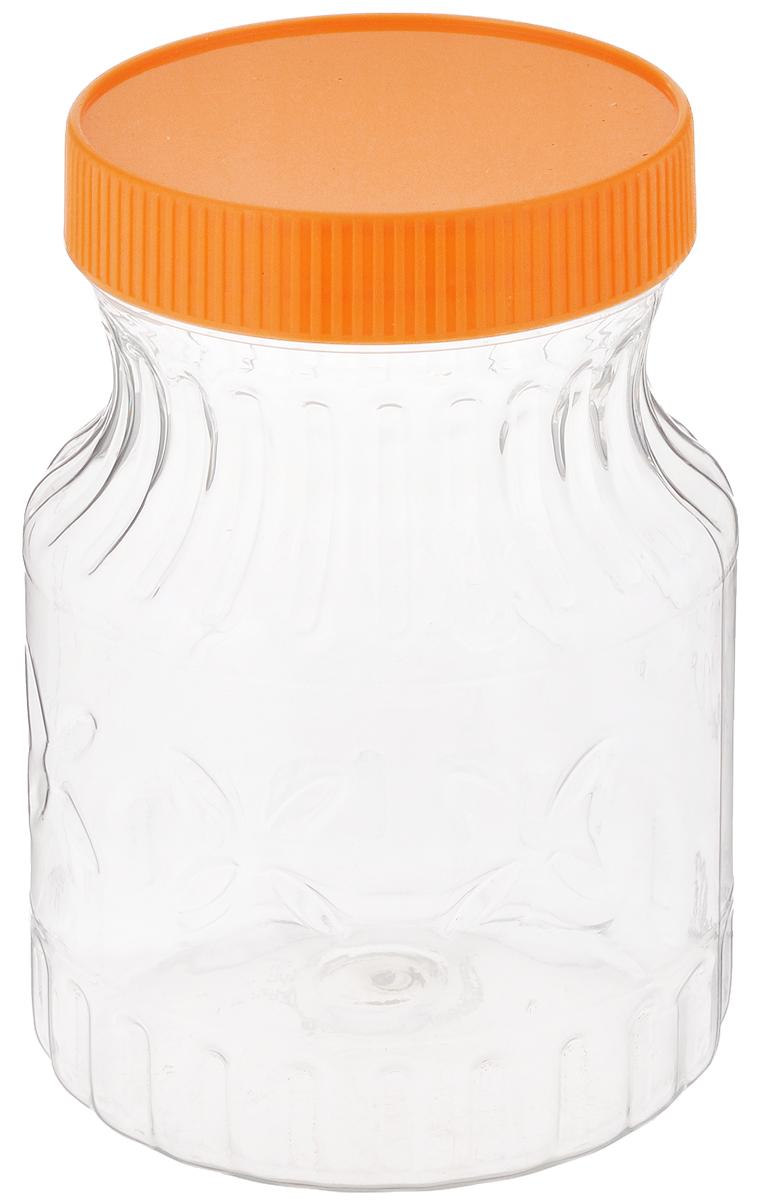 Банка Альтернатива Медовая, цвет: оранжевый, прозрачный, 700 млVT-1520(SR)Банка Альтернатива Медовая изготовлена из прозрачного пластика. Изделие абсолютно безопасно для контакта с пищевыми продуктами. Банка закрывается крышкой, которая защищает содержимое от влаги и сохраняет продукты ароматными и свежими. В такой банке можно хранить мед, варенье, различные сыпучие продукты. Она практична и функциональна, пригодится в любом хозяйстве.Диаметр банки (по верхнему краю): 8 см.Высота банки (с учетом крышки): 14 см.