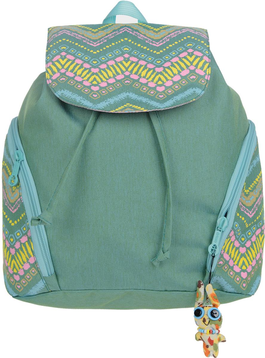 Рюкзак городской Grizzly, цвет: бирюзовый, розовый, желтый, 10 лKAA9984574Молодежный городской рюкзак Grizzly, выполненный из полиэстера, оформлен оригинальным ярким принтом в виде орнамента. Рюкзак имеет одно вместительное отделение, закрывающимся затягивающимся шнуром. По бокам расположены два вместительных кармана на молнии. Внутри рюкзака расположены три кармана: карман-пенал для карандашей на молнии и два нашитых кармана для различных мелочей. Изделие оснащено двумя удобными лямками и петлей для подвешивания.