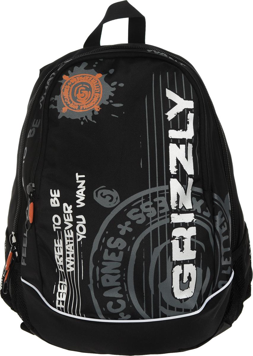 Рюкзак городской Grizzly, цвет: черный, 18 л. RU-601-3/1RU-601-3/1Стильный рюкзак Grizzly выполнен из полиэстера, оформлен оригинальным принтом и символикой бренда.Рюкзак содержит два вместительных отделения, каждое из которых закрывается на молнию. Внутри рюкзака расположены: карман на застежке-молнии и встроенный органайзер, который включает в себя три фиксатора для ручки и два открытых накладных кармашка для мелочей. Снаружи, по бокам изделия, расположены два сетчатых кармана. Рюкзак оснащен ортопедический спинкой, петлей для подвешивания, двумя практичными лямками регулируемой длины.Практичный рюкзак станет незаменимым аксессуаром и вместит в себя все необходимое.